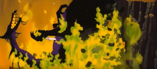 dying maleficent dragon falls into lake of fire in 1959 animated disney movie sleeping beauty