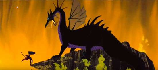 maleficent dragon attacks prince phillip in 1959 animated disney movie sleeping beauty