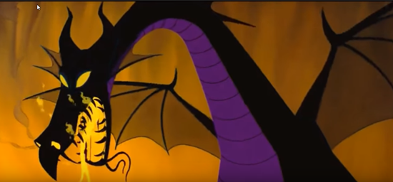 maleficent transforms into a dragon in 1959 animated disney movie sleeping beauty